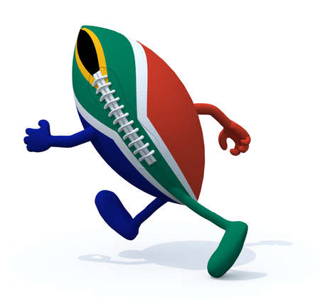 South Africa flag on rugby ball with arms and legs that run away, 3D Illustration