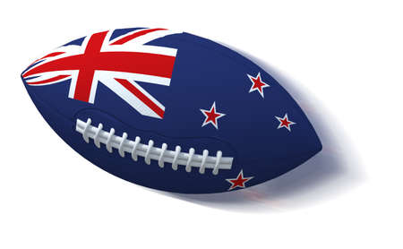 rugger: New Zealand flag on rugby ball with motion blur on White, 3D Illustration