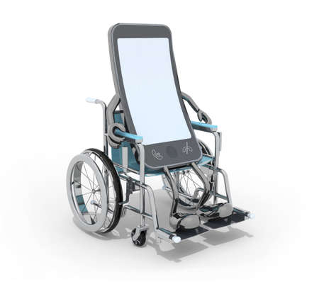 smartphone with arms and legs on a wheelchair, 3d illustration Stock Photo