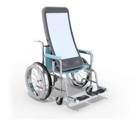 paraplegico: smartphone on a wheelchair, 3d illustration Foto de archivo