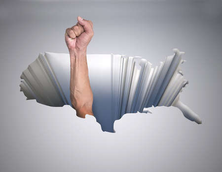 struggle: hole with a map of the united states of america and arm with fist, 3d illustration Stock Photo