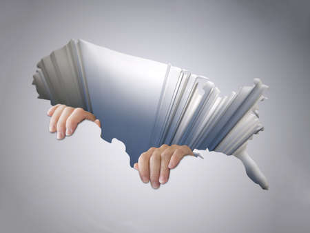 decline in values: hole with a map of the united states of america with clinging hands, 3d illustration Stock Photo
