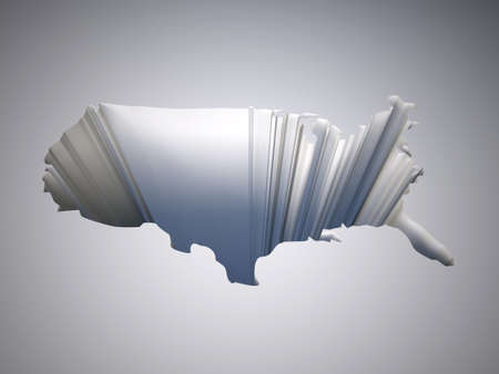 decline in values: hole with a map of the united states of america, 3d illustration