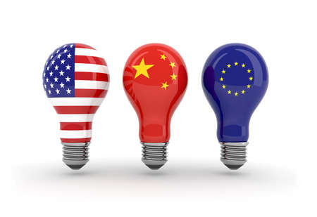 visions of america: light bulbs with American flag, chinese flag and euro flag, the majors consumers of energy in the world, 3d illustration