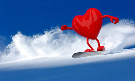 red heart with arms and legs that is doing snowboarding, 3d illustration Stock Photo