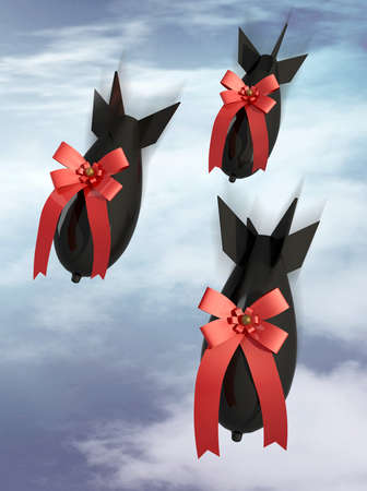 three gift aerobomb on a sky cloudy background, 3d illustration