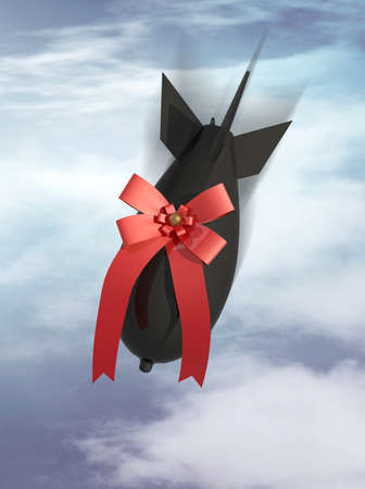 gift aerobomb on a sky cloudy background, 3d illustration