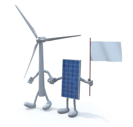 windpower: wind turbine and photovoltaic panel hand in hand, 3d illustration
