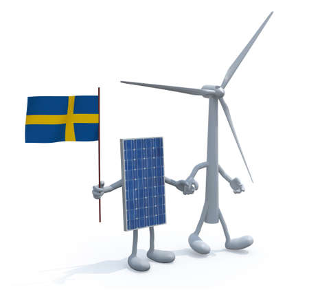 windpower: wind turbine and photovoltaic panel with swedish flag hand in hand, 3d illustration Stock Photo