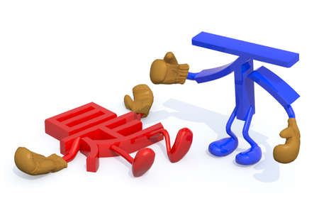 opposed: yes and no fightning, decision no winning, (Chinese version) 3d illustration