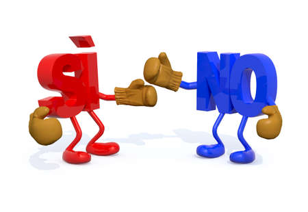 yes and no fightning (ItalianSpanish version), 3d illustration Stock Photo