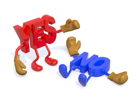yes and no fightning, decision yes winning, 3d illustration Stock Photo