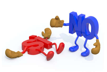 opposed: yes and no fightning, decision no winning, (ItalianSpanish version) 3d illustration