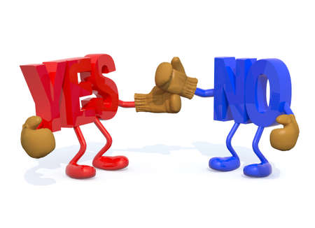 yes and no fightning, 3d illustration