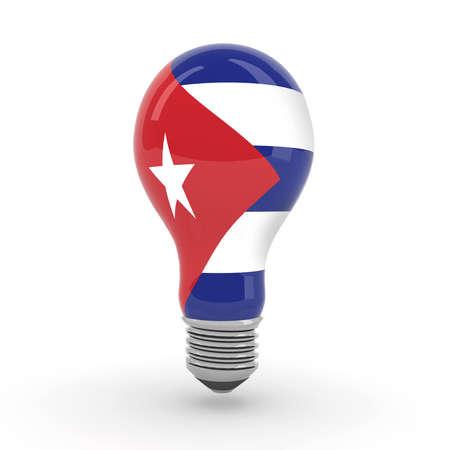 bombilla con la bandera cubana, ilustración 3d