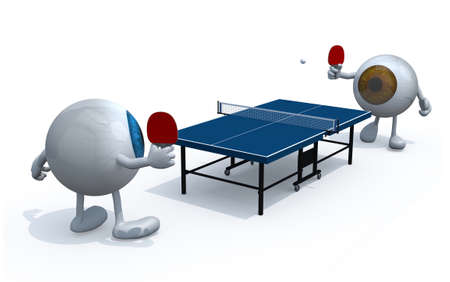 two eyeballs with arms and legs that playing to table tennis, 3d illustration Stock Photo