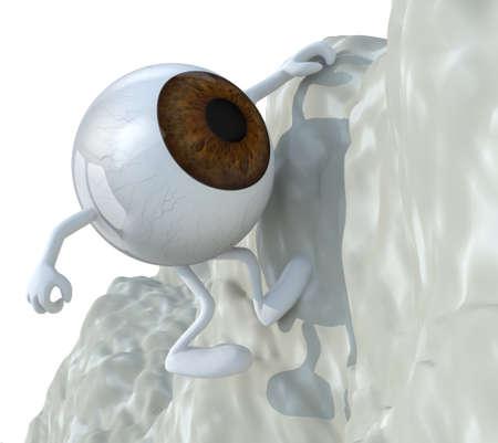 eyeball that climbs a mountain, 3d illustration