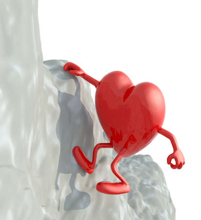 clambering: heart that climbs a mountain, 3d illustration Stock Photo