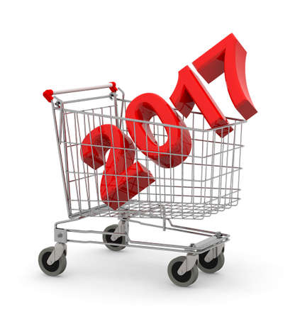 christmas time: 2017 inside metal shopping cart trolley, 3d illustration