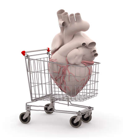 Human heart in a shopping cart, 3d illustration