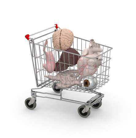 trafficking: Human organs in a shopping cart, 3d illustration
