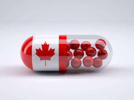 Pill with Canadian flag wrapped around it and red ball inside, 3d illustration