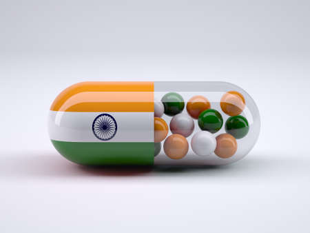 Pill with Indian flag wrapped around it and colored balls inside, 3d illustration