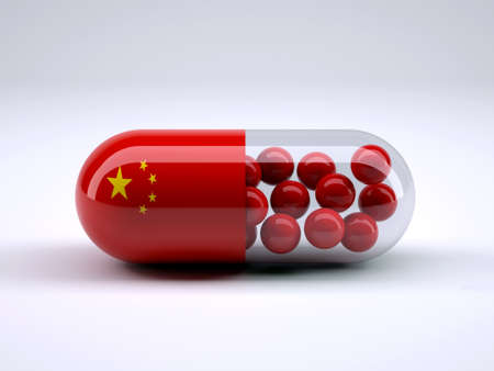 china business: Pill with Chinese flag wrapped around it and red ball inside, 3d illustration