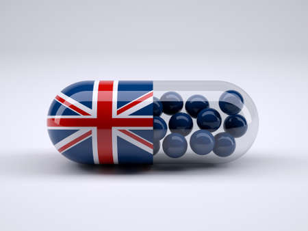 gb: Pill with England flag wrapped around it and blue balls inside, 3d illustration