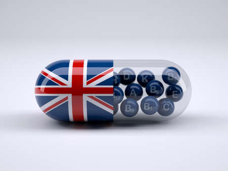 prescription bottles: Pill with England flag wrapped around it and blue balls inside, 3d illustration