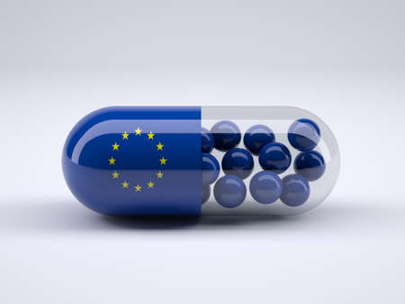 healt: Pill with European flag wrapped around it and blue balls inside, 3d illustration Stock Photo