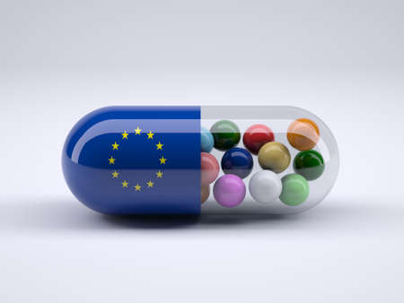 Pill with European flag wrapped around it and colored balls inside, 3d illustration