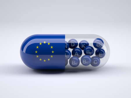 Pill with European flag wrapped around it and blue balls inside, 3d illustration Stock Photo