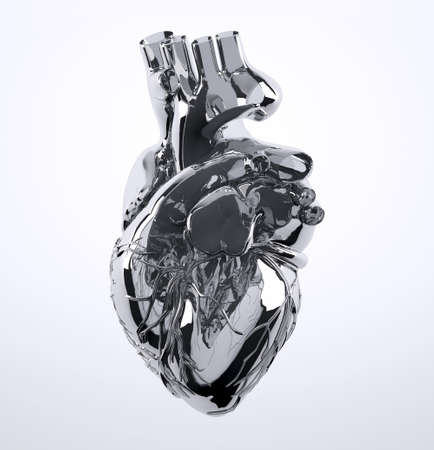 Metal human heart isolated on white background, 3d illustration Stock Photo