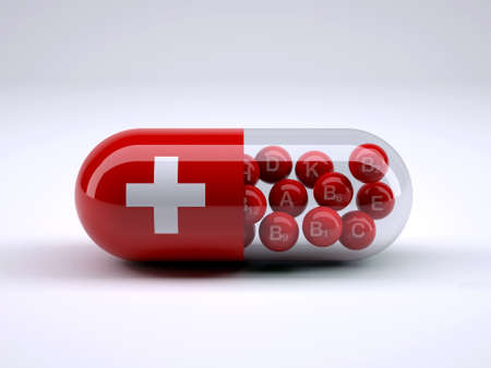 swiss ball: Pill with Swiss flag wrapped around it and red ball inside, 3d illustration