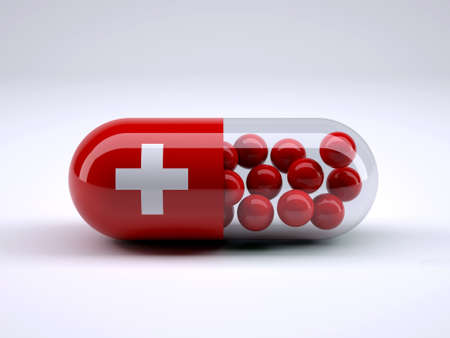 Pill with Swiss flag wrapped around it and red ball inside, 3d illustration