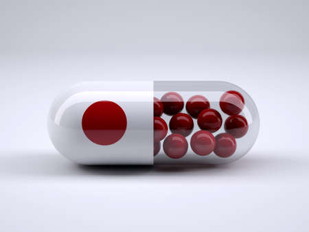 Pill with Japanese flag wrapped around it and red balls inside, 3d illustration Stock Photo