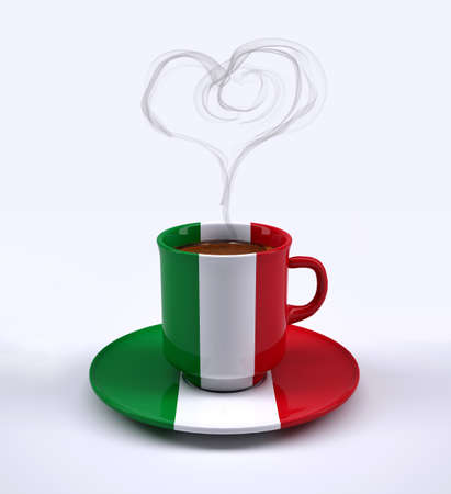 coffee cup with Italy flag and heart smoke, 3d illustration