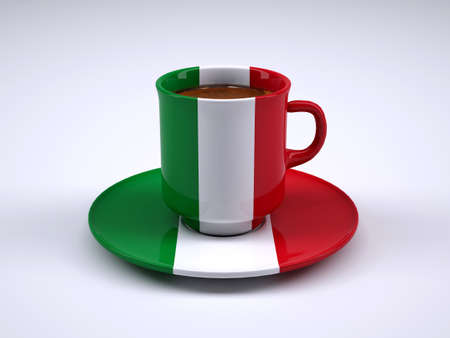 coffee cup with Italy flag, 3d illustration Stock Photo