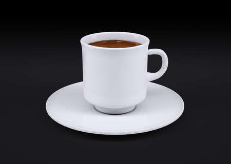 White coffee cup isolated on dark background, 3d illustration