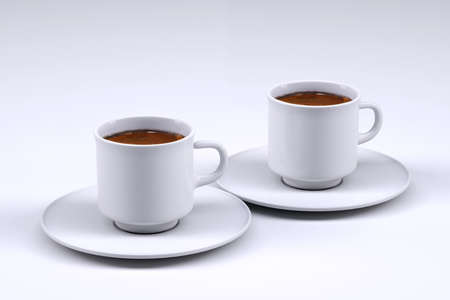 Two white coffee cup isolated on grey background, 3d illustration