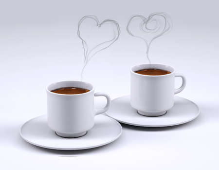 Two white coffee cup with heart smoke isolated on grey background, 3d illustration Stock Photo