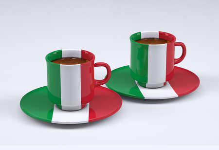 two coffee cup with Italy flag, 3d illustration