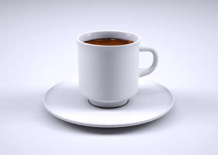 cup of coffee: White coffee cup isolated on grey background, 3d illustration