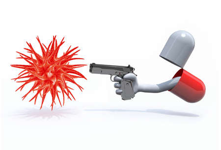 pill with a hand gun emerging out and virus, isolated 3d illustration