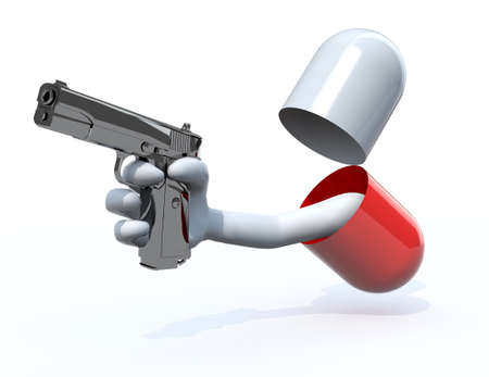prescription drugs: pill with a hand gun emerging out isolated 3d illustration