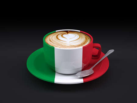 italy culture: cappuccino cup with Italy flag on dark background, 3d illustration