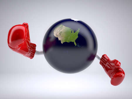 planet earth with only United States of America, arms and boxing gloves, 3d illustration