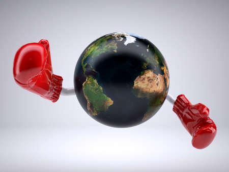 planet earth with arms and boxing gloves, 3d illustration