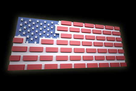 president of the usa: American flag as a brick wall, border protection concept, 3d illustration